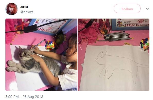 Девочка не знала, как нарисовать кошку, и просто обвела ее. Кошка в шоке, а картинка стала мемом про неудачное копирование