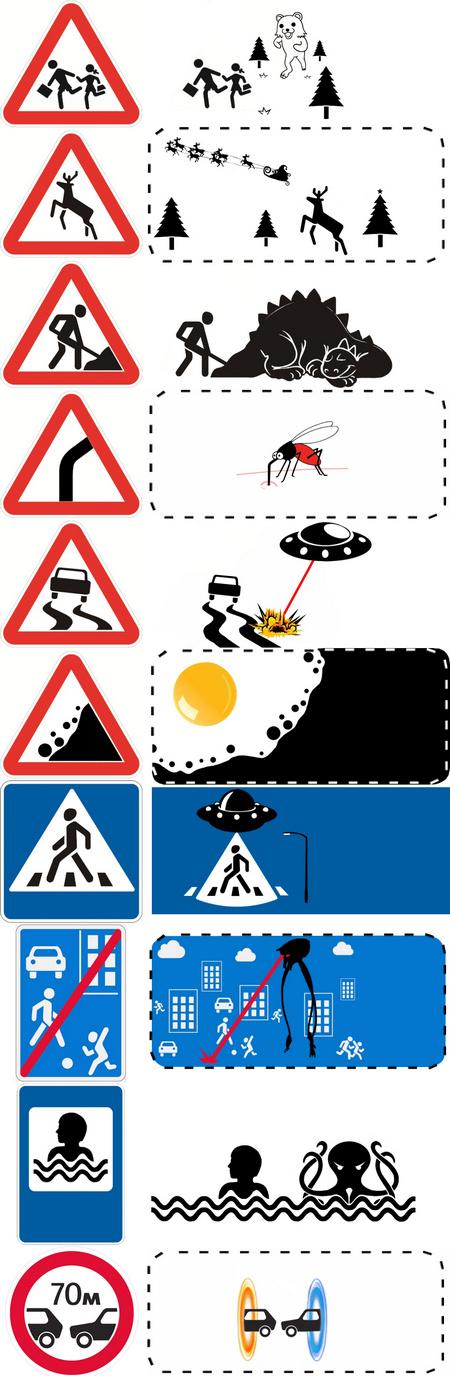 Дорожные знаки на самом деле