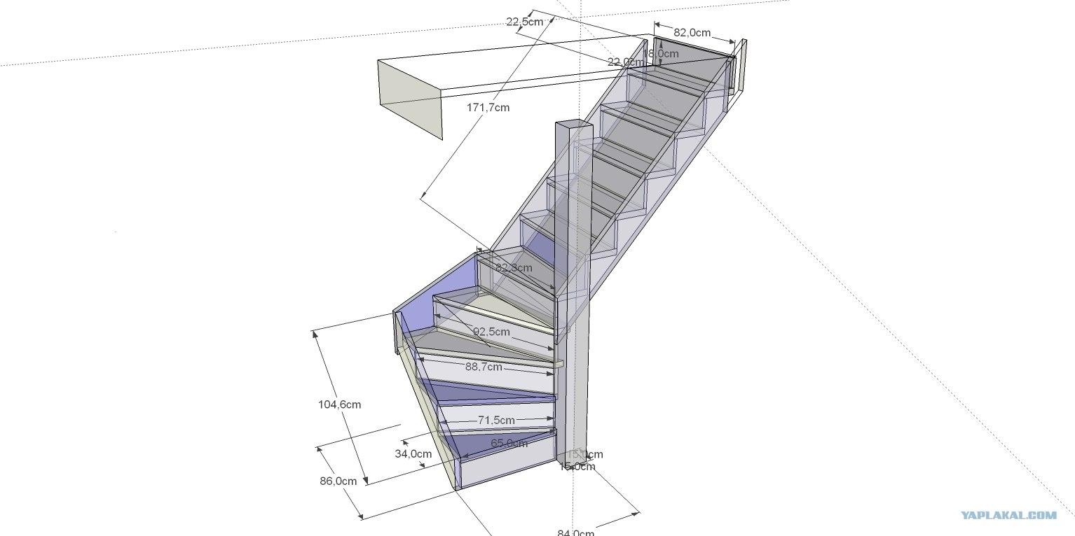 Лестница на второй этаж своими 14