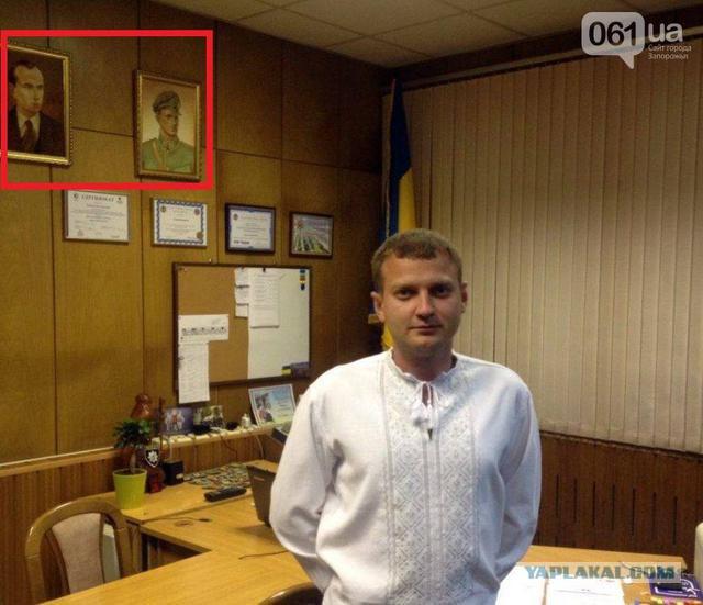 Начальник полиции Запорожья повесил в кабинете портреты Бандеры и Шухевича.