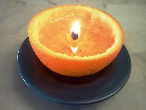 Как сделать свечу из апельсиновой кожуры