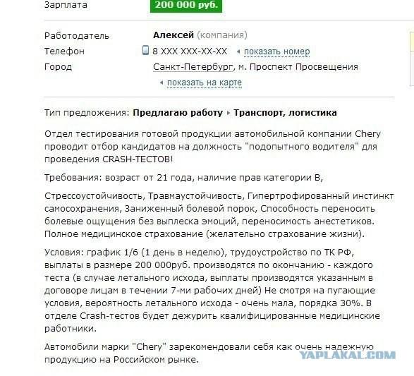 Работа. 1 день в неделю за 200 тысяч рублей.