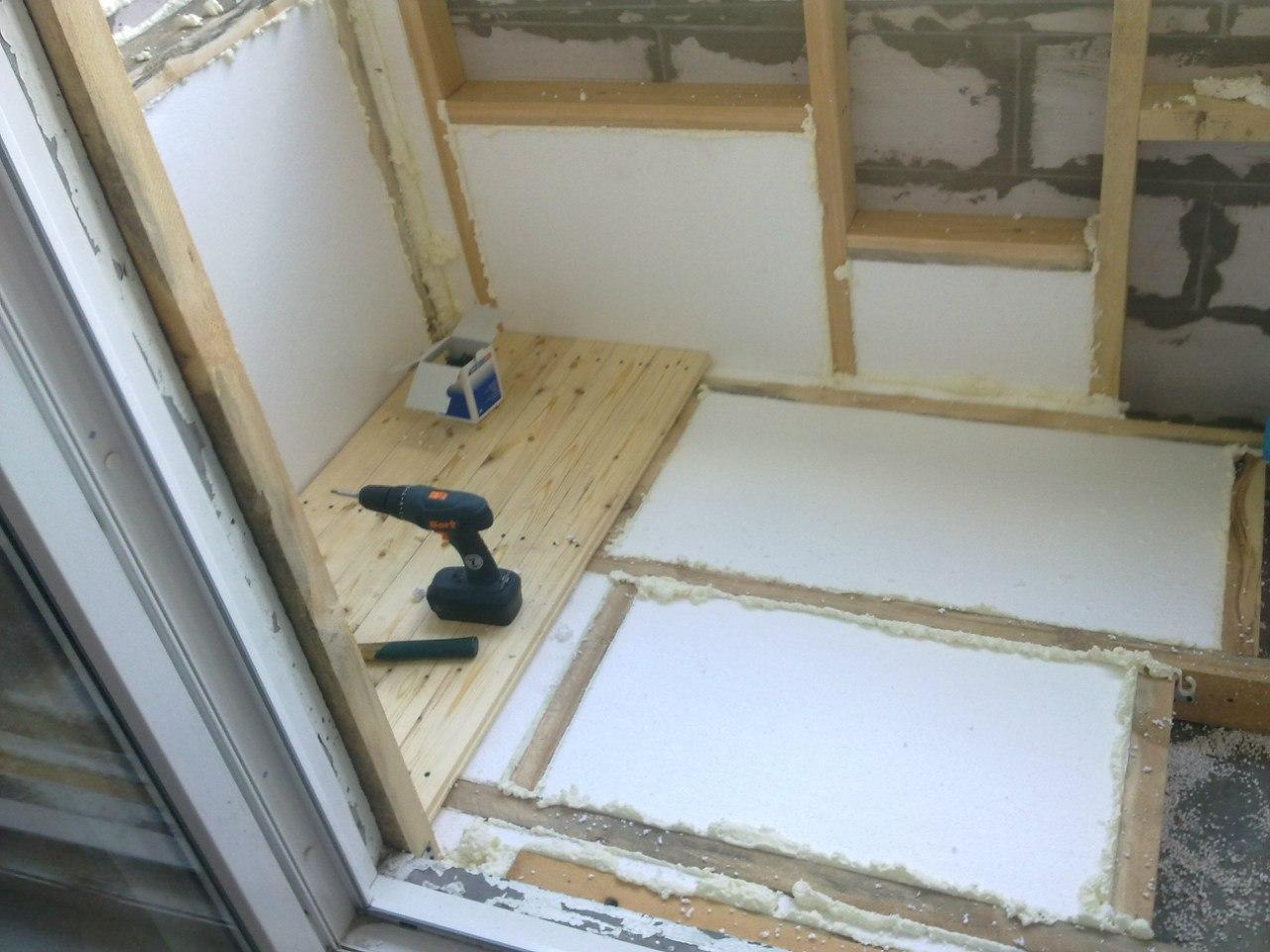 Выравнивание стен на балконе. - остекление лоджий - каталог .