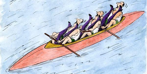 гребет ложками на лодке
