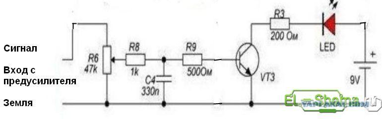 Простейшая схема цветомузыка на светодиодах