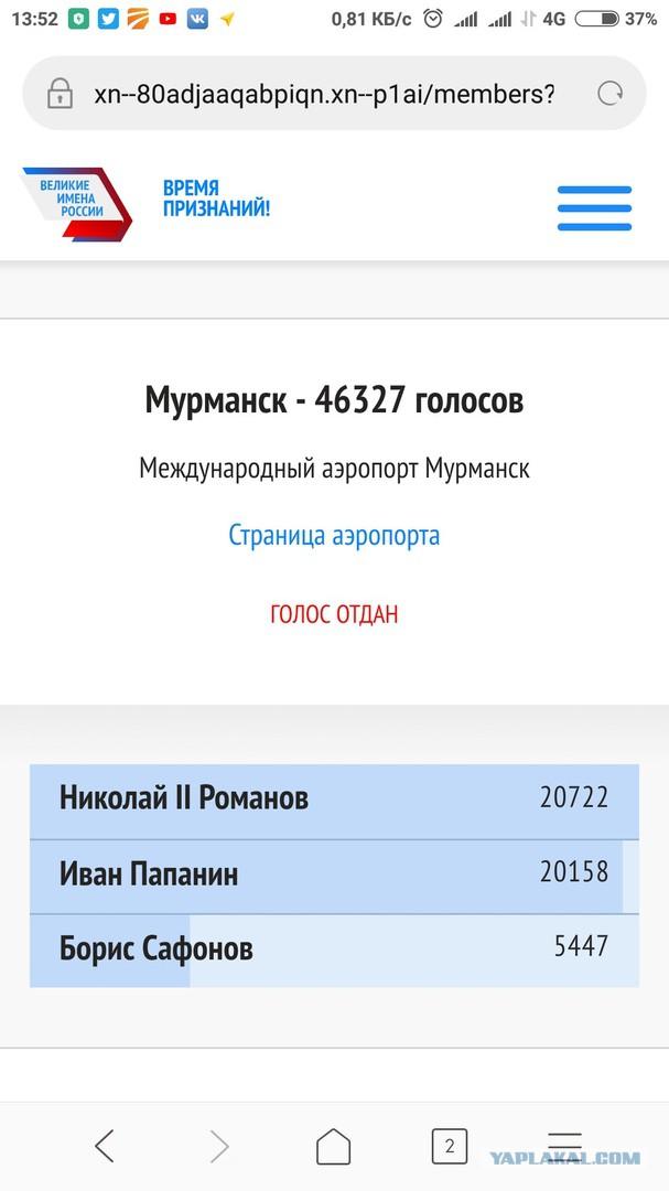Аэропорт в Мурманске хотят назвать именем Николая Кровавого