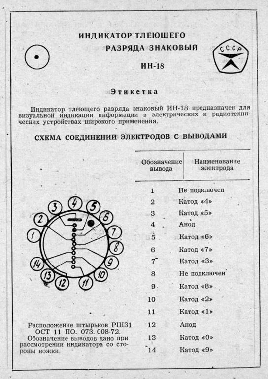 Индикатор тлеющего разряда ИН-18