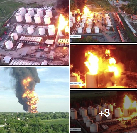 Масштабный пожар и взрыв на нефтебазе под Киевом