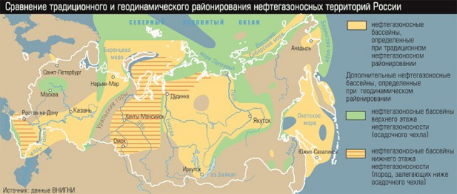 Размещение нефтегазоносных бассейнов по территории снг