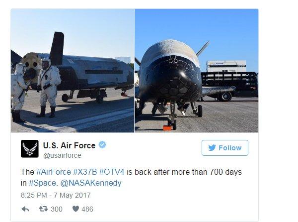 Секретный орбитальный самолет ВВС США X-37B вернулся на Землю после двух лет в космосе