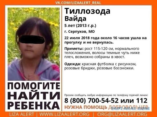 В подмосковном Серпухове неизвестный увел и убил пятилетнюю девочку