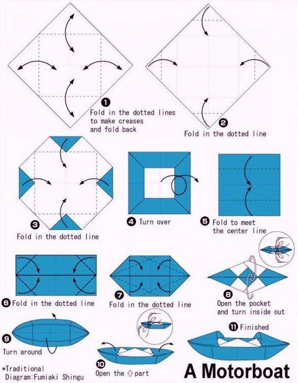 8 схем бумажных корабликов из детства = Hodor