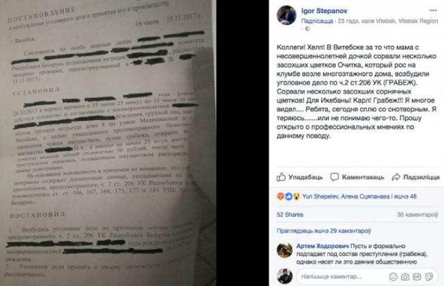 Жительнице Витебска и ее дочери грозит 6 лет тюрьмы за сорванные с клумбы цветы