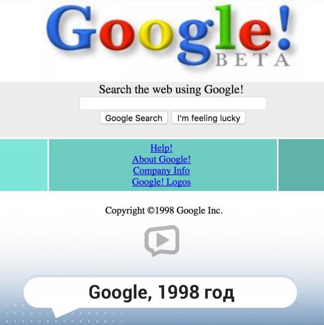Как выглядели известные и популярные сайты на самом старте