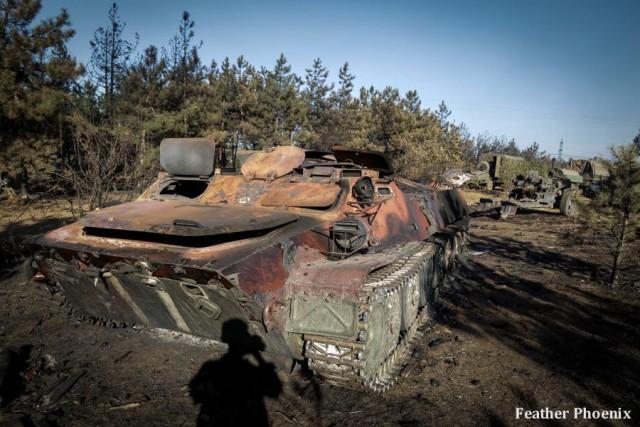 Позиции 28 бригады ВСУ после обстрела ополчением
