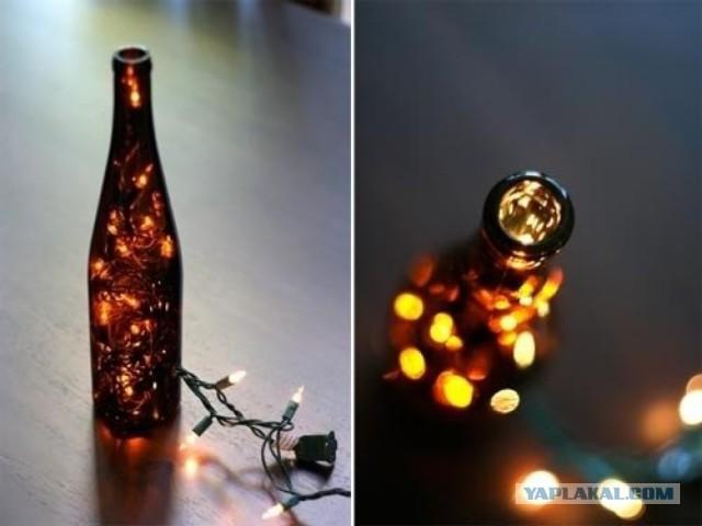 Новогодний подсвечник из бутылки своими руками