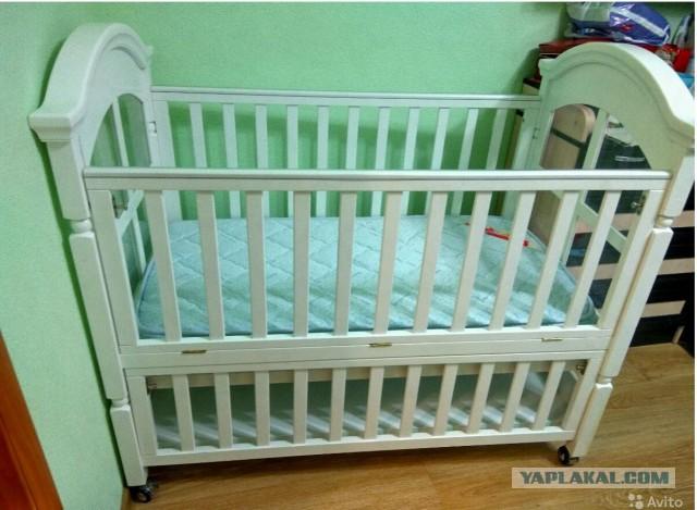 Детская кровать 0-3 года + плюшки