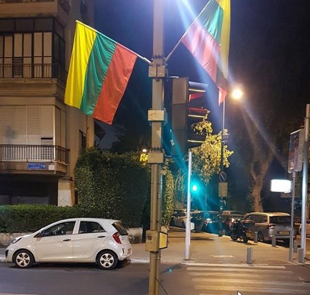 В преддверии гей-парада мэрия Тель-Авива развесила на улицах разноцветные флаги... Литвы