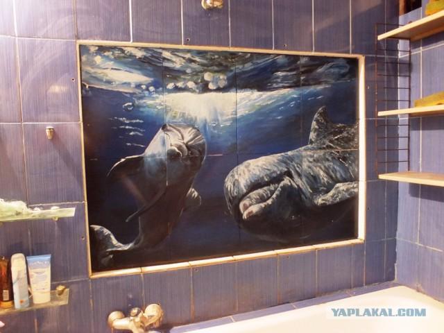 Дельфины в ванной.