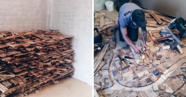 Как из рандомных кусочков древесины сотворить шедевр на вашем полу