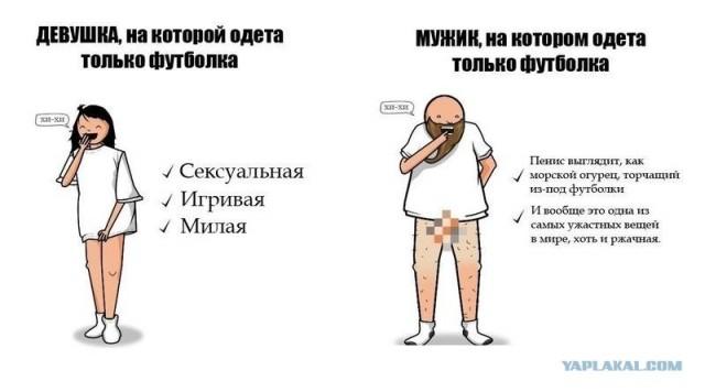 Разница между девушкой и мужиком в футболке