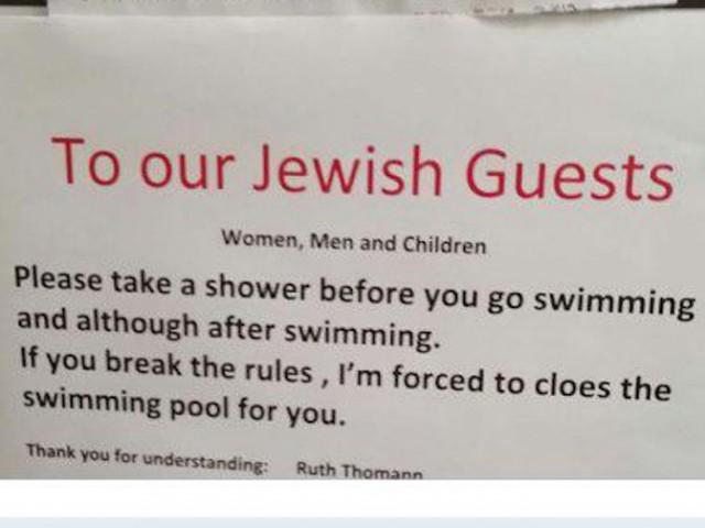 В Швейцарии евреям запретили купаться в бассейне, не приняв душ