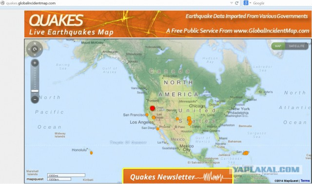 27 землетрясений в штате Невада, США