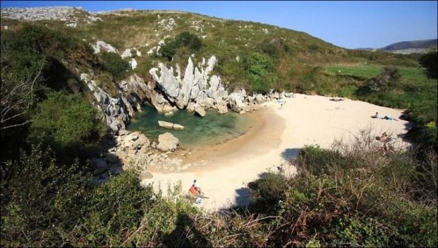 Морской пляж посреди пустыря с кустарником
