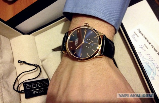 Часы: швейцарский ультра-тонкий костюмник на ручном заводе с роскошным лицом от Epos, СПб