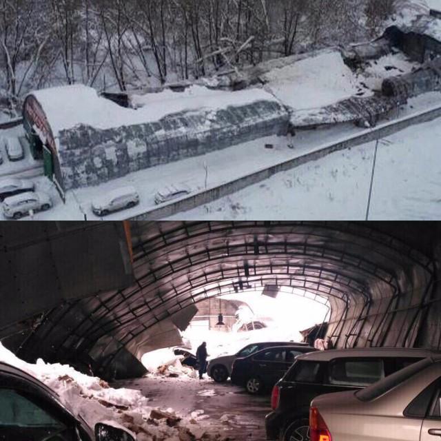 Обрушилась крыша парковки в Балашихе