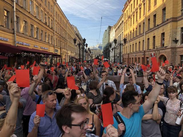 В Петербурге сейчас проходит несогласованная акция против пенсионной реформы