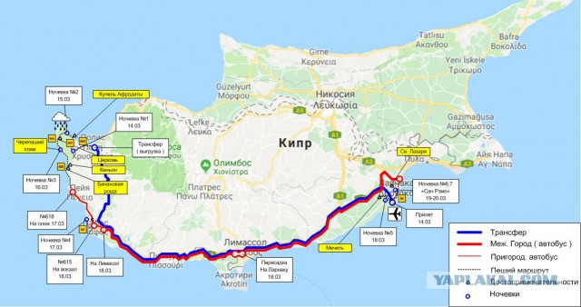 С рюкзаком по Кипру (март 2019)