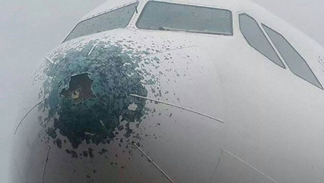 Airbus A330, пролетевший через шторм