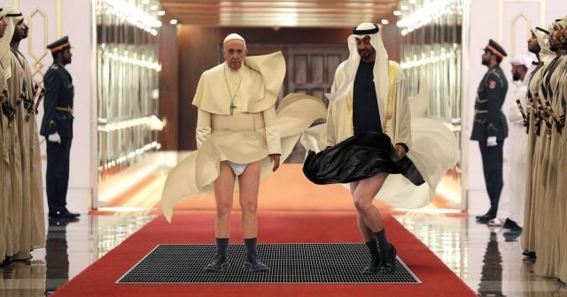 Неловкий момент в Абу-Даби: папа и шейх случайно пробегают через вентиляционную шахту