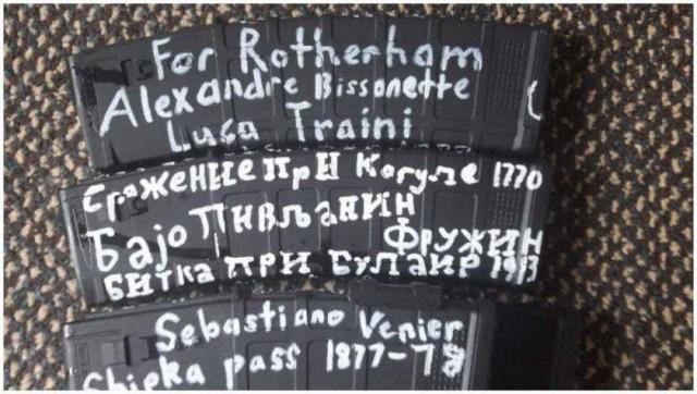 Надписи на оружии Брентона Тарранта, стрелка из Новой Зеландии