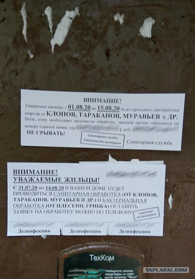 """Борьба с приподъездными объявлениями или """"Дезинфекция дезинфекторов"""""""