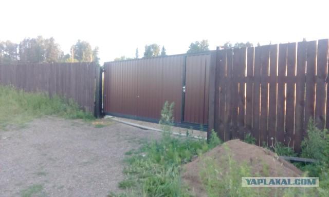 Откатные ворота с пролетом 5м, полный самодел