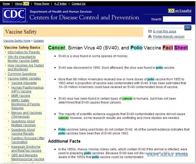 Вакцины ,зараженные вирусом SV40