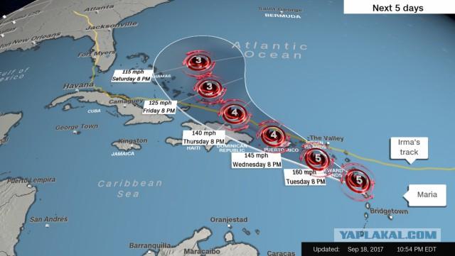 Ураган Мария достиг 5 категории и ударил по Доминике