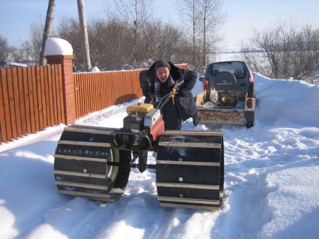 Как сделать из мотоблока снегоход на колесах