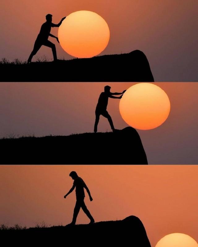 Индийский фотограф сделал серию прикольных снимков с закатом солнца