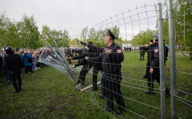 На акции против стройки храма в Екатеринбурге задержали более 20 человек