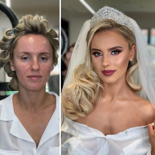 Макияж, начес и «фотошоп». На фото показали невест до и после работы визажиста