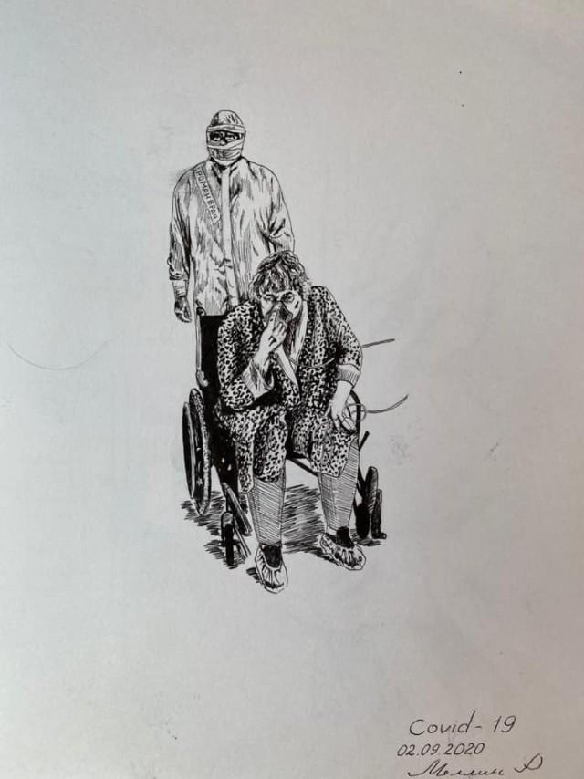 Кемеровский хирург лечит больных с COVID-19 и рисует будни медиков