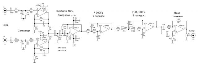 Поскольку саб работает на НЧ то нужен фильтр НЧ (ФНЧ).  Конечно если звуковая карта имеет отдельный выход на саб...