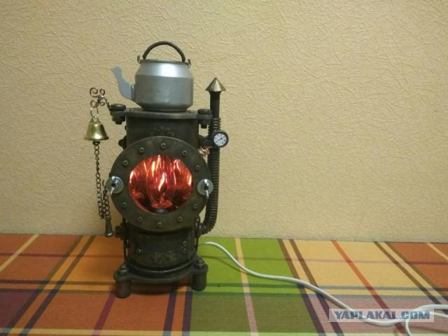Светильник — ночник Твердотопливый котел (Буржуйка) в стиле стим-панк.