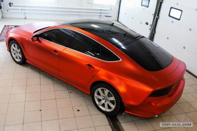Audi A7 в красном матовом хроме!