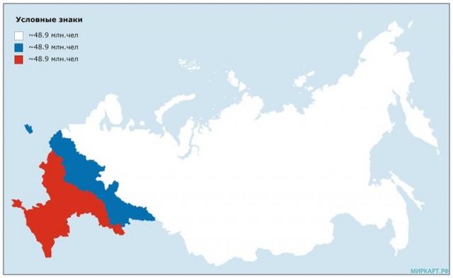 Карта России, разделенная на три части с примерно равным населением, на 2019 год