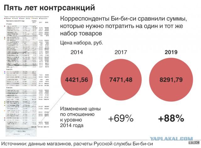 Пять лет контрсанкциям. Как подорожали продукты в России - на примере одного чека