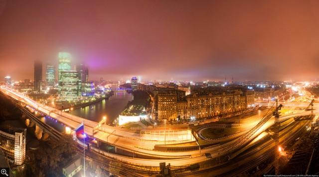 Огни туманного Москва-сити